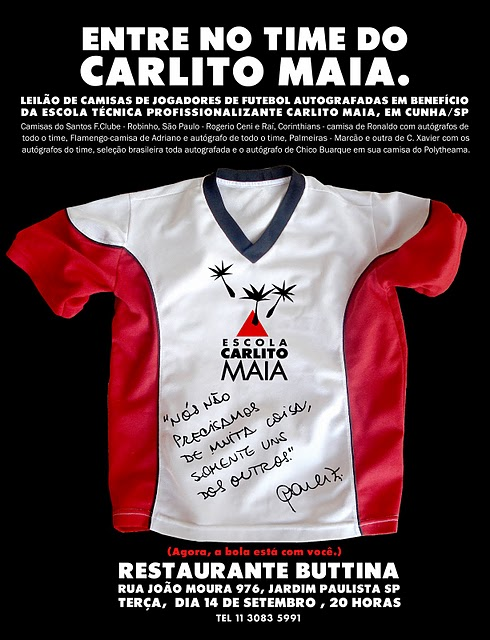 Leilão de camisetas autografadas por jogadores de futebol  fc8d48941dbb0